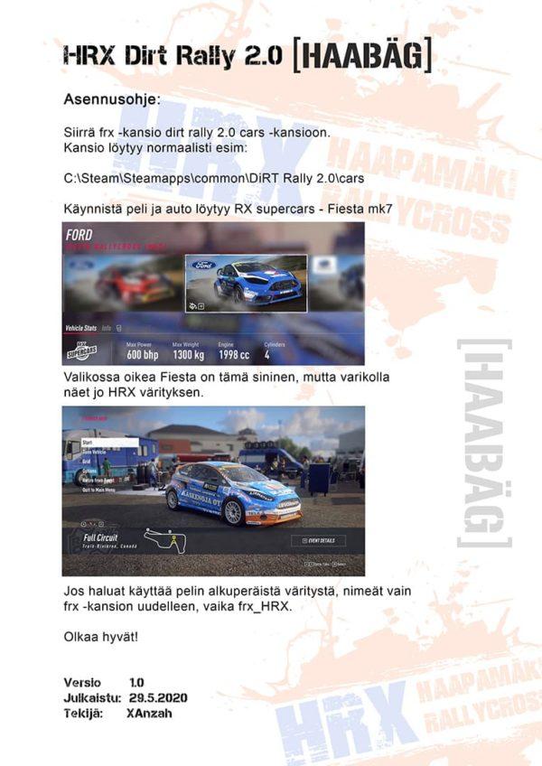Dirt Rally 2.0 ulkoasun asennusohje